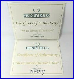 WDCC Disney Si & Am We are Siamese If You Please Lady & the Tramp Box & COA A003